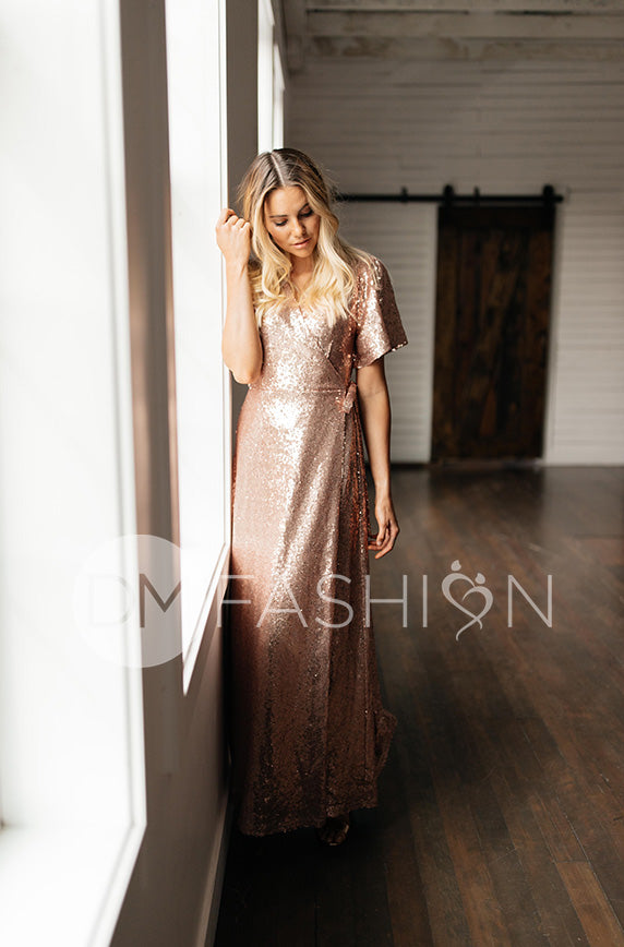 Aria Rose Gold Sequin Dress - DM Exclusive