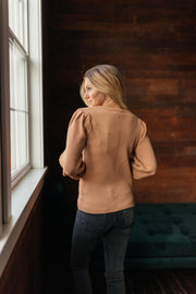 Maggie Caramel Puff Sleeve Sweater
