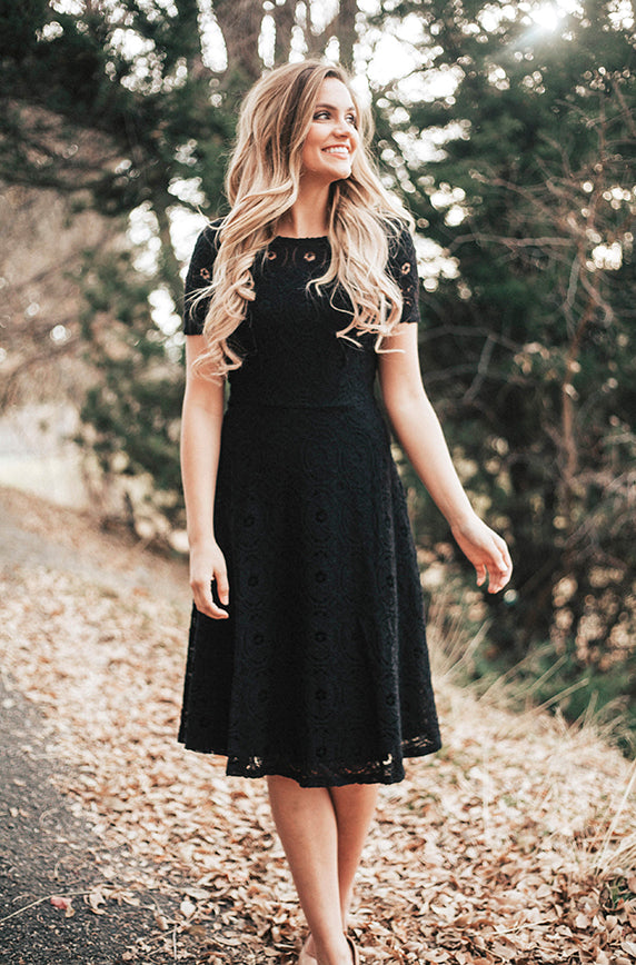 MADLYN - Soft Crochet Lace Dress in Black - DM Exclusive - DM Fashion