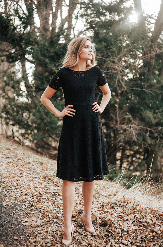 Madlyn Soft Crochet Lace Dress In Black Dm Exclusive Final