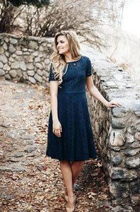 MADLYN - Soft Crochet Lace Dress in Navy - DM Exclusive - DM Fashion
