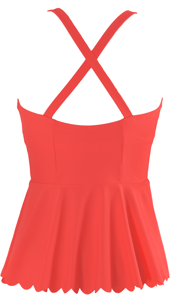 Scalloped Peplum Tankini - Sunrise Coral