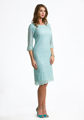 Ella Soft Crochet Trim Dress in Ice Blue