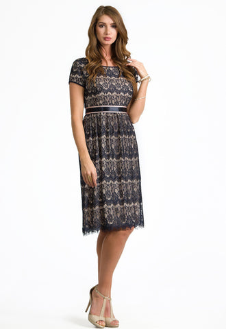 Savannah Navy Nude Lace Dress