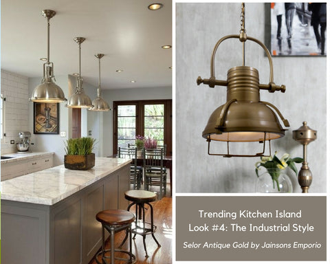 Selor Antique Gold Industrial Pendant Lamp by Jainsons Emporio for Kitchen Island