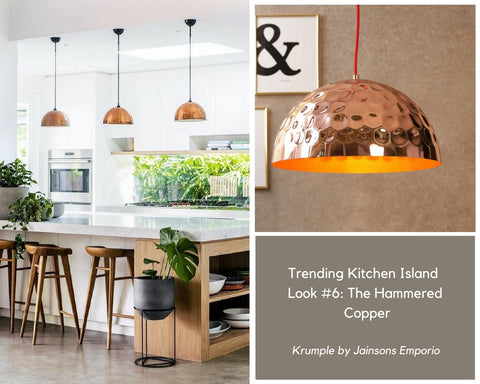 The Hammered Copper Pendant Lamp for Kitchen Island Lighting