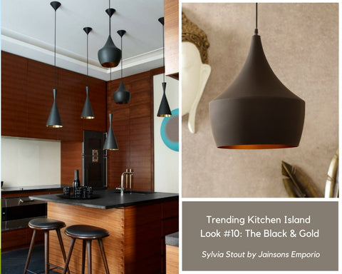 Sylvia Beat Black Gold Pendant Lamp by Jainsons Emporio