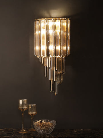 Bryson Crystal Tube Wall Light | Buy Gold Luxury Wall Lights Online India