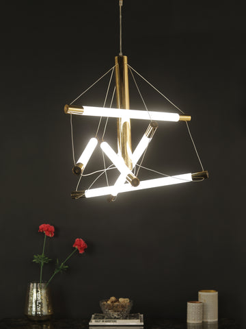 Cardiff Gold Glass Tube Chandelier | Buy Modern Chandeliers Online India