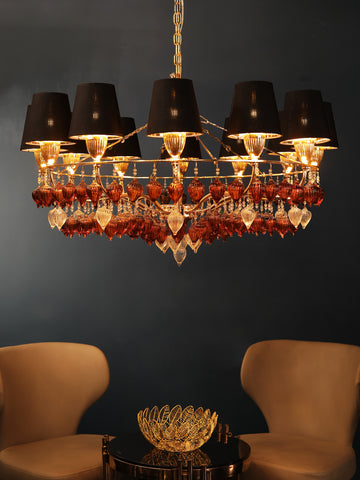 Black Shade Crystal Chandelier | Buy Crystal Chandeliers Online India