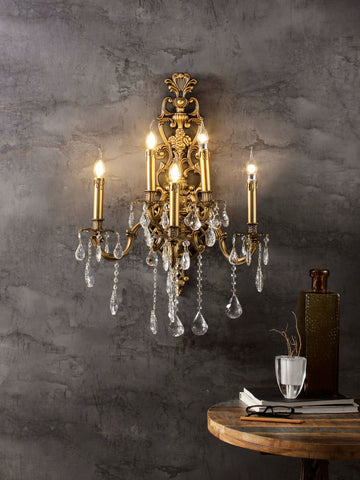 Ruth Gold Crystal Wall Light| Buy Crystal Wall Lights Online India