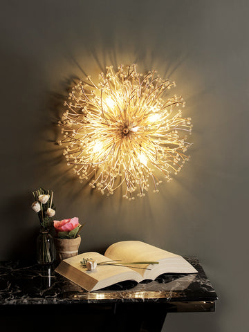 Sunflower Gold Crystal Wall Light| Buy Crystal Wall Lights Online India