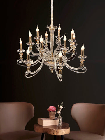Arista 6+6-Lamp | Buy Crystal Chandelier Online in India | Jainsons Emporio Lights