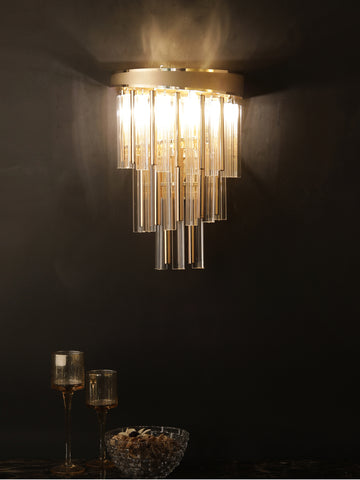 Wilson Crystal Tube Wall Light | Buy Gold Luxury Wall Lights Online India