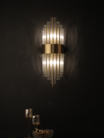 Hudson Crystal Tube Wall Light | Buy Gold Luxury Wall Lights Online India