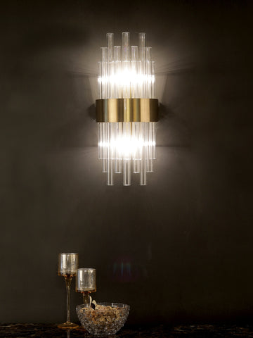 Benson Crystal Tube Wall Light | Buy Gold Luxury Wall Lights Online India
