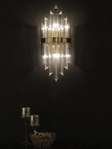 Carson Crystal Tube Wall Light | Buy Gold Luxury Wall Lights Online India