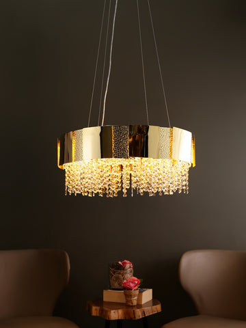 Ellie Gold Crystal Drum Hanging Light | Buy Drum Crystal Chandeliers Online India