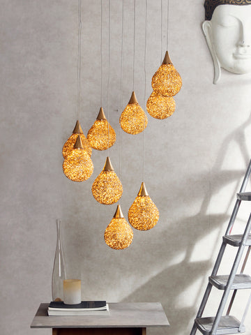 Golden Drop LED Cluster Chandelier | Buy LED Ceiling Lights Online India