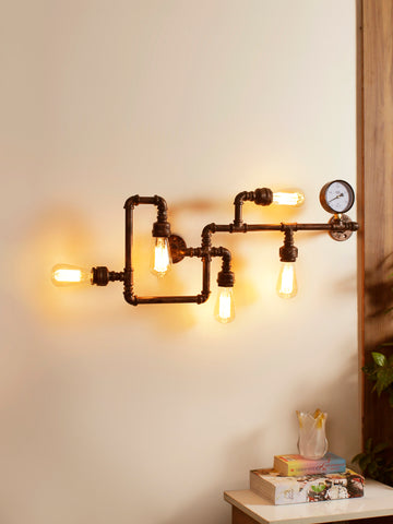 Iron Pipe 5-Lamp Industrial Wall Lamp| Buy Luxury Wall Lights Online India