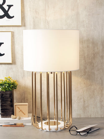 Spencer White Gold Modern Table Lamp | Buy Luxury Table Lamps Online India