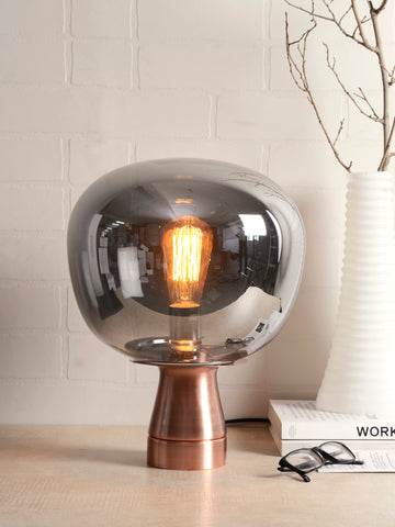 Jones Smokey Glass Table Lamp | Buy Modern Table Lamps Online India