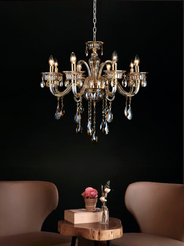 Hilary 8-Lamp | Buy Crystal Chandelier Online in India | Jainsons Emporio Lights