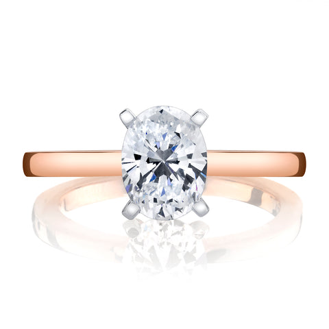 Ladies Solitare Oval Diamond Engagement Ring