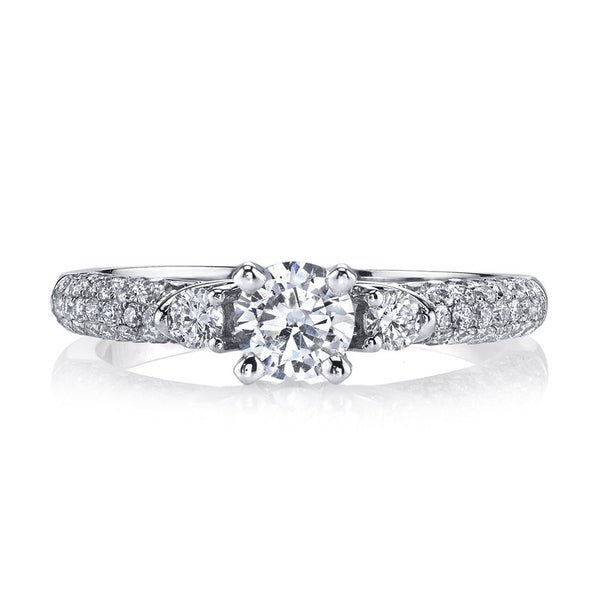 Ladies 3 Stone Micro Pave Diamond Engagement Ring