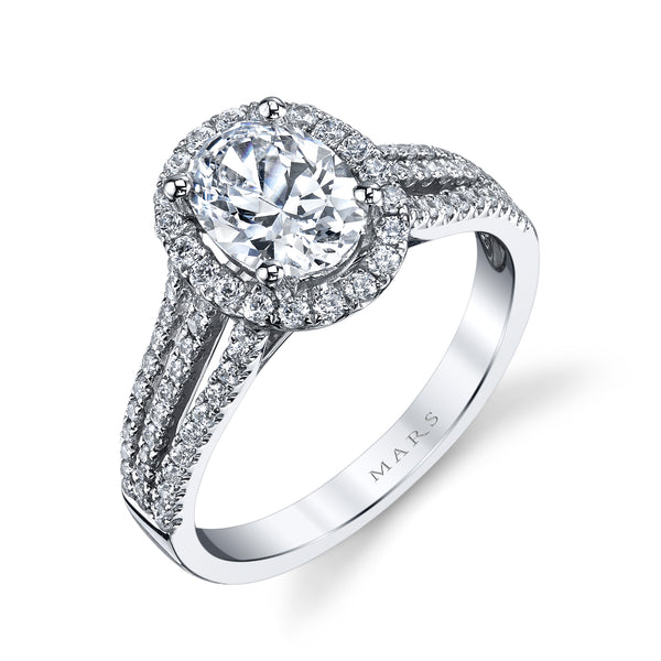 Ladies Halo Oval Diamond Engagement Ring