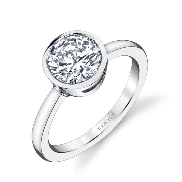 Ladies Solitare Bezel Diamond Engagement Ring