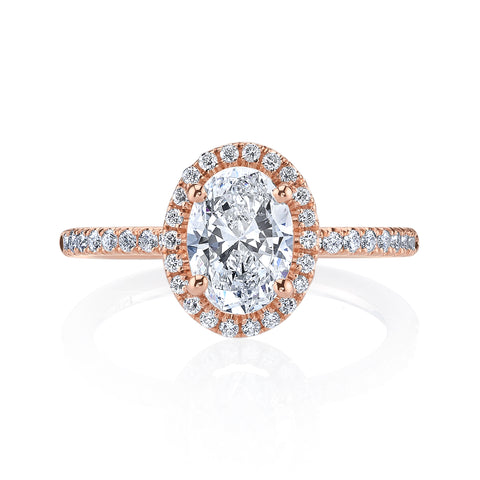 Ladies Petite Halo Oval Diamond Engagement Ring