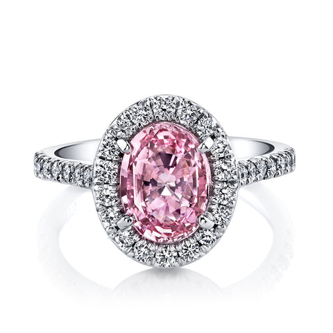 Pink Padparadscha Sapphire Halo Ring