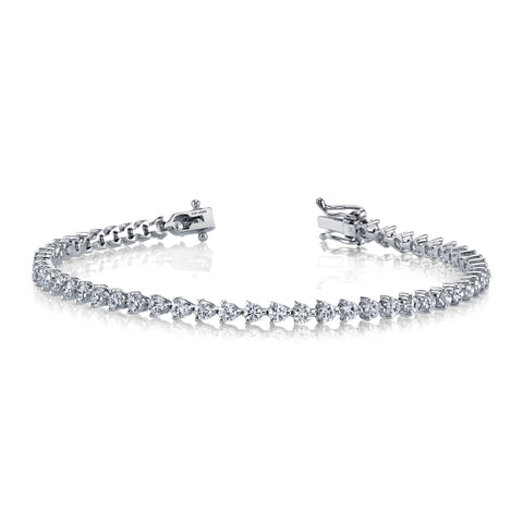 Ladies Diamond Tennis Bracelet 3 Prong
