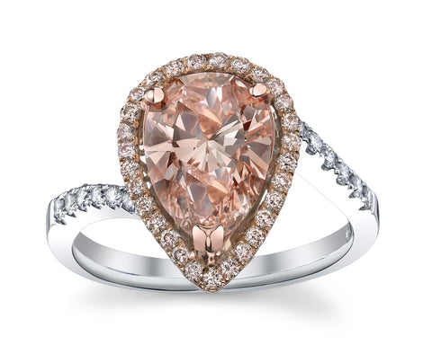Pear Shape Fancy Pink Diamond Ring