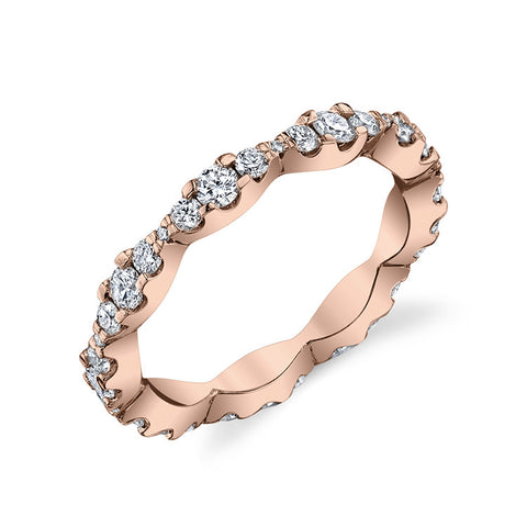 Scalloped Diamond Eternity Band in 14k Rose Gold
