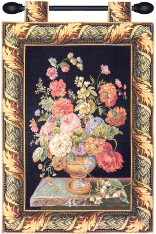 Flower Basket Black European Wall Tapestry - Tapestry Zest