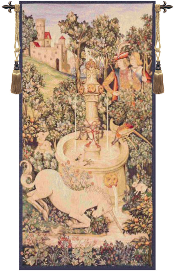Portiere Licorne Fontaine French Tapestry - Tapestry Zest