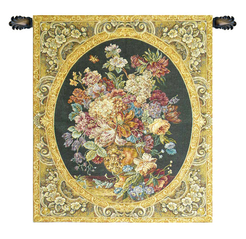 Floral Composition in Vase Dark Green Italian Wall Tapestry - Tapestry Zest
