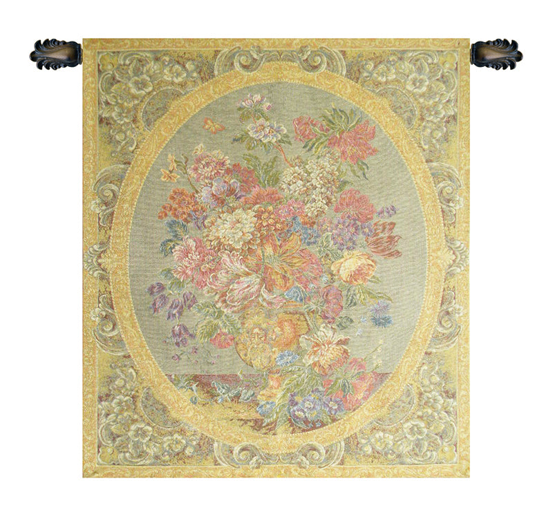 Floral Composition in Vase Cream Italian Wall Tapestry - Tapestry Zest