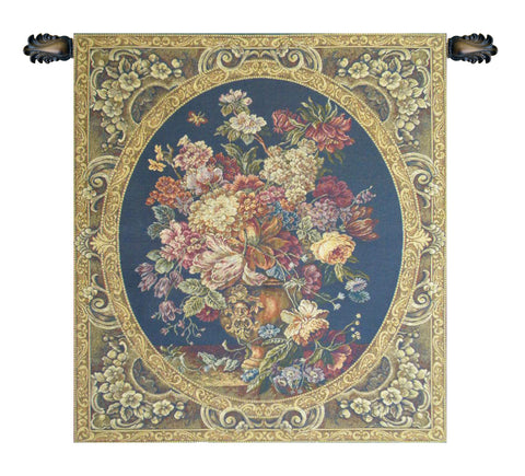 Floral Composition in Vase Dark Blue Italian Wall Tapestry - Tapestry Zest