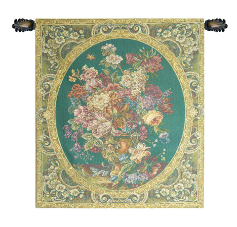 Floral Composition in Vase Green Italian Wall Tapestry - Tapestry Zest