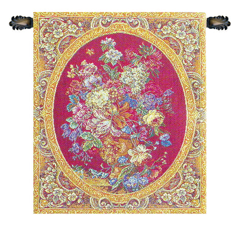 Floral Composition in Vase Burgundy Italian Wall Tapestry - Tapestry Zest