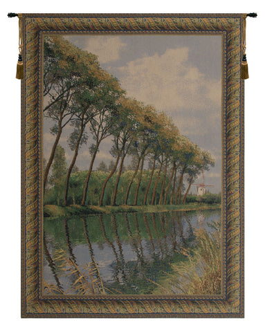 Canal in Flanders Mill European Wall Tapestry - Tapestry Zest