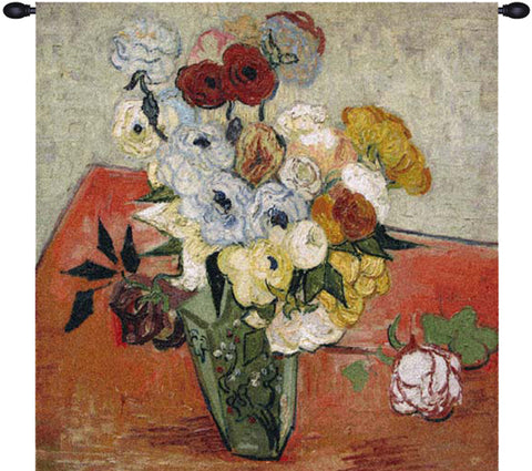 Van Gogh Roses and Anemones European Wall Tapestry - Tapestry Zest