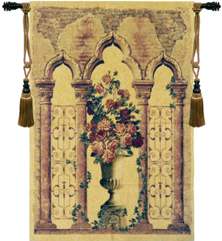 Floral Urn with Columns Belgian Wall Tapestry - Tapestry Zest