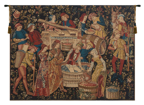 Grapes Harvest Vendanges European Wall Tapestry - Tapestry Zest