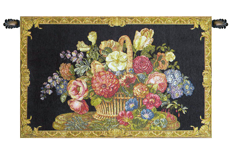 Flower Basket with Black Chenille Background Italian Wall Tapestry - Tapestry Zest