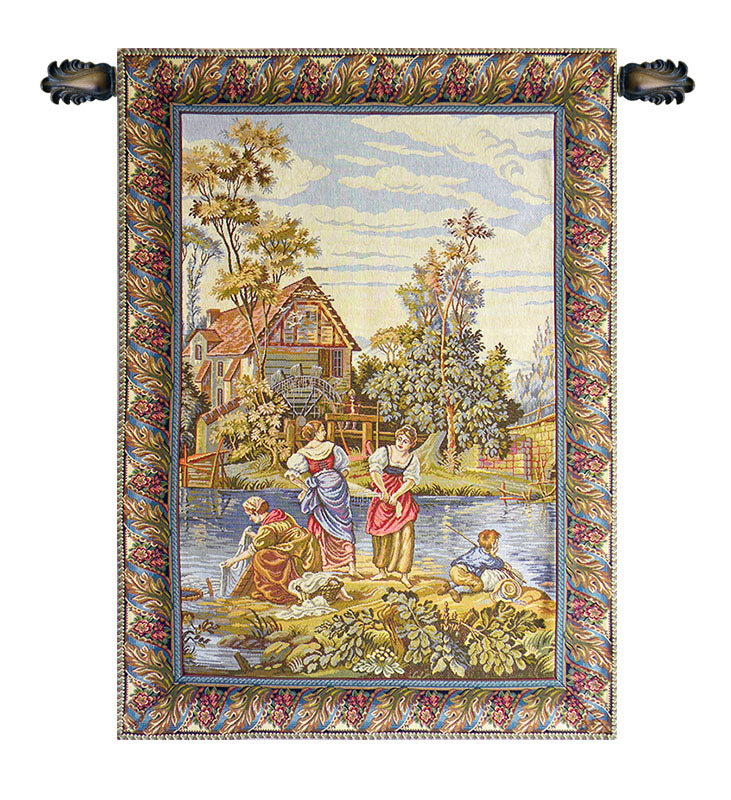 Washing by the Lake Vertical Italian Wall Tapestry - Tapestry Zest