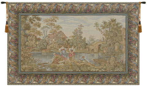 Washing Day at the Mill Horizontal Italian Wall Tapestry - Tapestry Zest